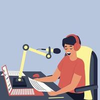 Der Radiomoderator sendet im Studio vektor