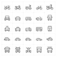 Fahrzeug- und Transportliniensymbole. Vektorillustration auf weißem Hintergrund. vektor