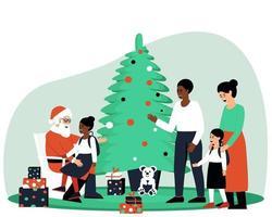 Vater und Tochter von Afroamerikanern besuchten den Weihnachtsmann. Das Mädchen sitzt in den Armen des Weihnachtsmanns. Mutter und Tochter warten darauf, dass sie an die Reihe kommen. flache Vektorillustration. vektor