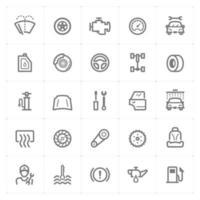 Garage und Auto Line Icons. Vektorillustration auf weißem Hintergrund. vektor