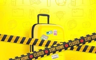 Bleib zu Hause Konzept. Reisegepäck auf gelbem Hintergrund vektor