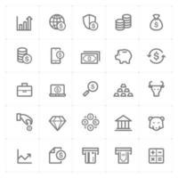pengar och finans ikoner. vektorillustration på vit bakgrund.