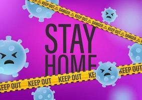 Bleib zu Hause Konzept. Wissenschaft abstrakter Hintergrund mit Viren vektor