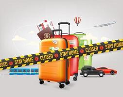 Bleib zu Hause Konzept. Reisegepäck und verschiedene Fahrzeuge vektor