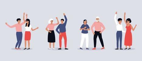 Set von tanzenden Paaren von Männern und Frauen vektor