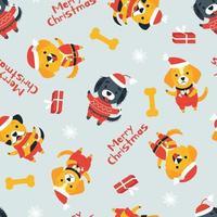 sömlösa mönster av söta hundar av olika raser i juldräkter vektor