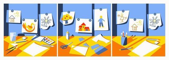 Desktop zum Arbeiten mit Aquarellen, Zeichnen mit Bleistiften und Applizieren vektor