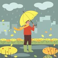 Junge steht mit einem Regenschirm im Regen vektor
