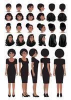 Zeichentrickfigur der Afroamerikaner-Geschäftsfrau im schwarzen Kleid und in der verschiedenen Frisur für Vektor-Sammlung des Animationsdesigns vektor