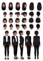 Zeichentrickfigur der afroamerikanischen Geschäftsfrau im schwarzen intelligenten Anzug und in der verschiedenen Frisur für Vektor-Sammlung des Animationsdesigns vektor