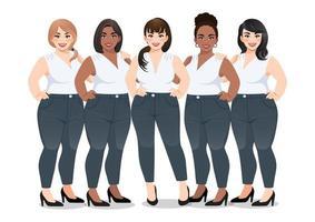 Satz Plus Size weiblich im weißen ärmellosen Hemd und in den Jeans, die zusammen auf weißem Hintergrundvektor stehen vektor