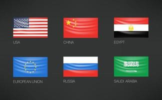 winkende Flaggenvektorsatz. USA, China, Ägypten, Europäische Union, Russland, Saudi-Arabien vektor