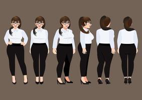 Zeichentrickfigur mit Plus Size Geschäftsfrau im weißen Hemd für Animation. Vorderseite, Seite, Rückseite, 3-4 Ansichtscharakter. Vektorillustration vektor