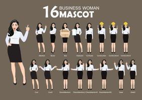 16 affärskvinna maskot, tecknad karaktär stil poserar uppsättning vektorillustration