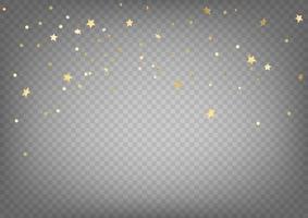 goldene Konfetti Vektor Clipart. Luxus fliegende Goldkonfetti und Sterne lokalisiert auf transparentem Hintergrund
