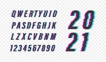 Glitch Video-Effekt. Vektor Alphabet Symbole gesetzt. 2021