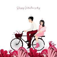 tecknad par sitter på en cykel i vit bakgrund. Alla hjärtans dag festival vektorillustration vektor