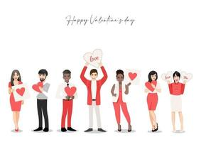 Zeichentrickfigur mit Menschengruppe, die Herzen hält. Valentinstag Festival. Liebe und freiwillige Vektorillustration vektor