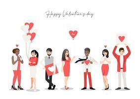 tecknade människor som håller hjärtan för alla hjärtans dag