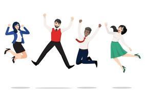 Geschäftsleute springen und feiern den Sieg. fröhliche gemischtrassige Menschen, die zusammen feiern. Eine abwechslungsreiche Gruppe glücklicher Teamkollegen springt. flache Vektor gewinnende Zeichensammlung