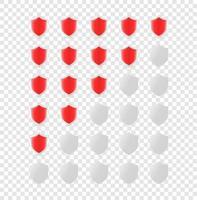 rote Schilde Bewertungsschablone lokalisiert auf transparentem Hintergrund vektor