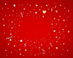Konfetti von Sternen und Herzen auf rotem Hintergrund vektor