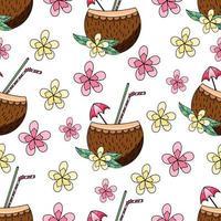 kokosnöt coctail och blommor sömlösa mönster vektorillustration för textiltryck vektor