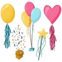 isolierte Elemente der Geburtstagsfeier eingestellt mit bunten Geschenken Luftballons, Zauberstab, Konfetti und Süßigkeiten Symbole flache Vektor-Illustration vektor