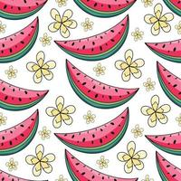 nahtloses Muster der Sommerwassermelone und der gelben Blumen auf weißem Hintergrund. Vektorillustration für Textildruck, Tapete, Modedesign vektor