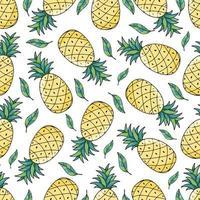 nahtloses Muster der tropischen Ananasananasfrucht auf weißem Hintergrund. Vektorillustration für Textildruck, Tapete, Modedesign vektor