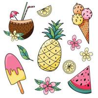 Sommerferien gesetzt mit Ananas, Scheibe Wassermelone, Eis, Zitrone und Eis am Stiel Hand gezeichnet vektor