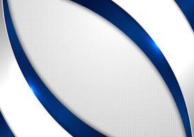 blaue und graue Kurvenform der abstrakten Schablone auf weißem Hintergrund mit quadratischem Muster vektor