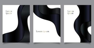 uppsättning broschyromslag lyxmall pappersskuren stil svart kurva vågform på vit bakgrund