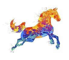abstraktes galoppierendes Pferd vom Spritzen von Aquarellen. Vektorillustration von Farben vektor