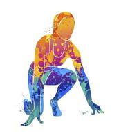 abstrakte Läufer auf kurzen Strecken sprinten vor Aquarellspritzern. Vektorillustration von Farben vektor