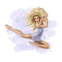 das tanzende Mädchen. Hand gezeichnete Mädchen Turnerin. Vektorillustration vektor