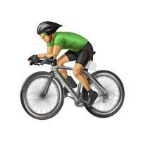 abstrakter Radfahrer auf einer Rennstrecke. Vektor realistische Darstellung von Farben