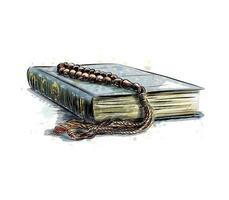 helig bok av koranen med radband, handritad skiss vektorillustration vektor