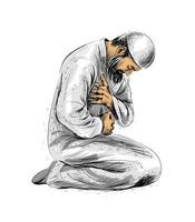 muslimischer Mann betend, handgezeichnete Skizze. Vektorillustration vektor