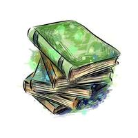 Stapel mehrfarbiger Bücher aus einem Spritzer Aquarell, handgezeichnete Skizze. Vektorillustration von Farben vektor