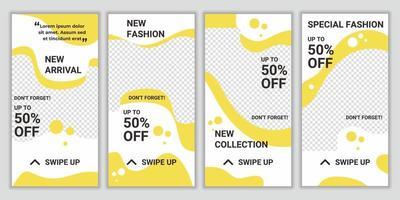 Designvorlagen für Social Media-Packs für Social Media-Geschichten. Modewerbung. Layout-Hintergrund für Rabatt und Sonderangebot. Modellfoto-Vektorrahmenillustration in der gelben und weißen Farbe vektor