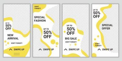 uppsättning med 4 sociala medier berättelselayouter med färsk gul och vit färgkombination. mall design för affärsberättelse mode, skönhet ny ankomst, ny samling. vektor illustration