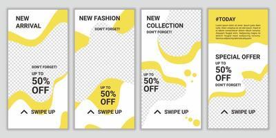 Vektorsatz abstrakter kreativer Hintergründe im minimalen trendigen Stil mit Kopierraum für Foto. modernes Werbequadrat-Webbanner für Social-Media-Geschichten, Webbanner, Verkauf, Werbung, mobile Apps vektor