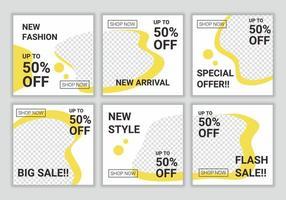 Satz bearbeitbarer minimaler abstrakter quadratischer Banner-Schablonendesign für Social-Media-Feed-Post. Modeverkauf digitale Werbung. weiße und gelbe Hintergrundfarbformformvektorillustration