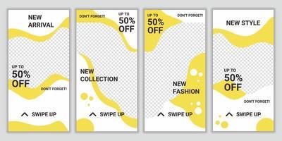 uppsättning mode försäljning sociala medier berättelse post designmall. kvadratisk pussel layout för marknadsföring. sociala nätverk bakgrund. vektorillustration för webbplats, affisch, flygblad, webbdesign, webbannons