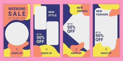 trendig redigerbar mall design för sociala medier nätverk. helgförsäljningskampanj. vektor försäljning banner bakgrund, mobil app, affisch, flyer, kupong, presentkort, smartphone mall berättelse