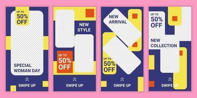 Set mit 4 Social-Media-Story-Layouts mit blauem, gelbem und orangefarbenem Hintergrund. bearbeitbare Geschichten Vektor Vorlagen Pack für Modekollektion. Rabatt besondere Frauentag. bunte Geschichte