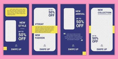 uppsättning sociala medier postmall med ny färg. layout för affärsberättelse mode, skönhet ny ankomst, ny kollektion. vektor illustration. mockup för affärsberättelser mode försäljning marknadsföring