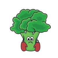 boxare söt broccoli karaktär vektor mall design illustration