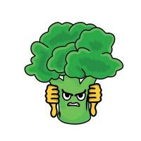 två tummen ner söt broccoli karaktär vektor mall design illustration
